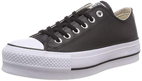 Converse Damen Chuck Taylor All Star Lift CLEAN Sneakers, Schwarz (Black/Black/White 001), 36 EU - Vintage Converse Sneakers