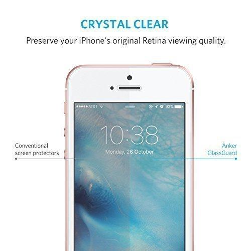 Anker Glas Schutzfolie für Apple iPhone SE / iPhone 5S / iPhone 5C / iPhone 5 Premium Klar Anti-Kratz-Screen Protector Displayschutz - 9H Hardness aus gehärtetem Glas - 6