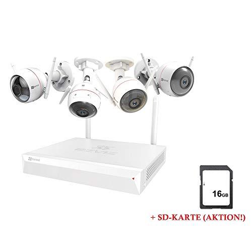 LEICKE CO67122 EZVIZ ezWireless Kit, Überwachungs-Set mit 4 Husky Air Kameras und Vault Live Steuerungseinheit, WiFi oder Lan, Indoor und Outdoor, Nachtsicht und Alarm, Bewegungserkennung