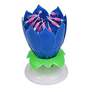 Voberry® Buon compleanno stupefacente fiore di loto musicale rotante Candela Fiore (blu)