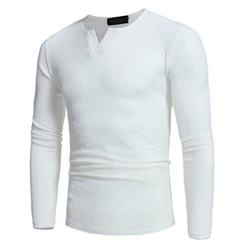 Elecenty Herren Langarmshirt Longsleeve Slim Fit T-Shirt Leicht Oversize Basic Männer Sweatshirt Kompressionsshirt Grandad-Ausschnitt aus hochwertiger Baumwoll-Mischung (XXXL, Weiß 2) (Weiße Baumwoll-mischung)