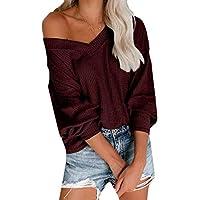 MK988 Women T-Shirts V-Neck Long Sleeve Waffler Loose Fit Blouse Top T-Shirt Wine Red M