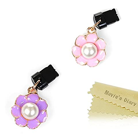 Mavis's Diary 2 Pcs Cute Bling Dust Plugs / Cell Charms/ USB Jack / Charging Cable Jack for iPhone 7 Plus Series,iPhone 6S Plus,iPhone SE 5.5