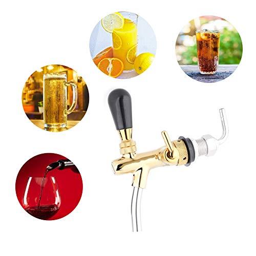 Bierzapfhahn,Jectse G5/8 Edelstahl gute Abdichtung Einstellbarer Bierhahn Bier Wasserhahn für Bars, Hotels, Restaurants, Zuhause und so weiter(golden) -
