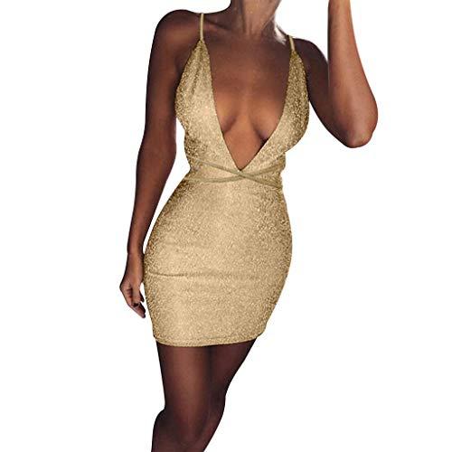 MAYOGO Pailetten Cocktail Kleider Damen Große Größen Bodycon Kleid mit Glitzer,Spagettiträger Tiefer V-Ausschnitt Sexy Rückenfrei Bleistiftkleid für Club Party Oversize 34-48