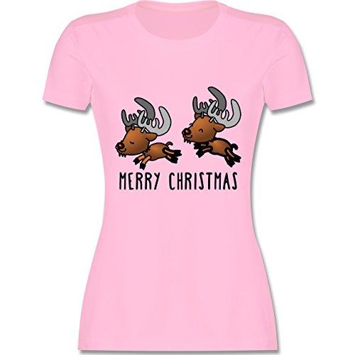 Weihnachten & Silvester - Rentiere Merry Christmas - tailliertes Premium T-Shirt mit Rundhalsausschnitt für Damen Rosa
