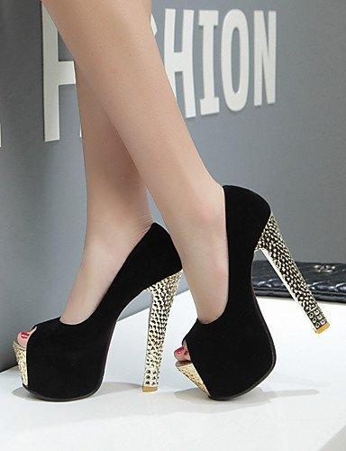 WSS 2016 Chaussures Femme-Mariage / Habillé / Soirée & Evénement-Noir / Rouge-Gros Talon-Talons / Bout Ouvert / A Plateau-Talons-Similicuir black-us9 / eu40 / uk7 / cn41