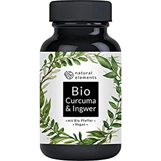 Bio Curcuma & Ingwer - 180 Kapseln - Einführungspreis - 4440mg Bio Kurkuma, Bio Ingwer & Bio Pfeffer pro Tagesdosis - Mit Curcumin, Gingerol & Piperin - Hochdosiert und hergestellt in Deutschland