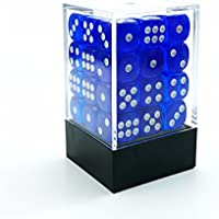 Bescon 12mm 6 Sided Dice 36 in Brick Box, 12mm Six Sided Die (36) Block of Dice, Translucent Royal Blue With White Pips