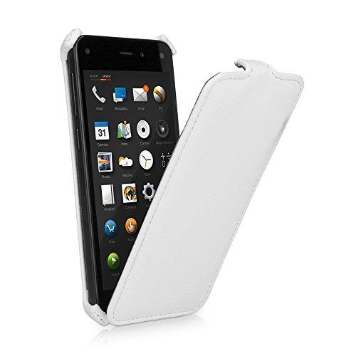 amazon Fire Phone Fall, BoxWave® [Leder Flip Fall] Slim Kunstleder Schutzhülle mit weichem Innenfutter für Amazon Fire Phone-Winter Weiß Vertical Slim Case