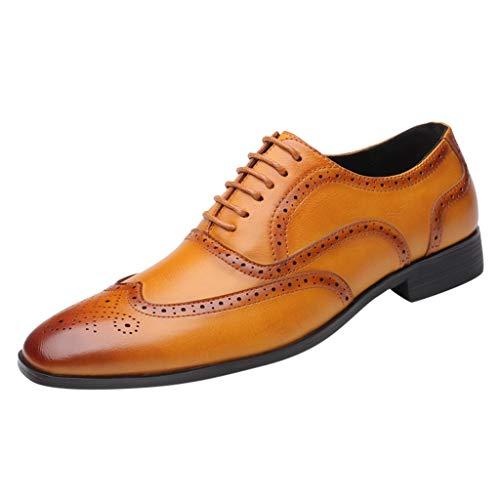 FNKDOR Schuhe Groß(38-48) Berufsschuhe Britischer Stil Herren Lederschuhe spitz Geschäft Schnürsenkel Freizeitschuhe Oxford Leder Hochzeitsschuhe Gelb 39 EU