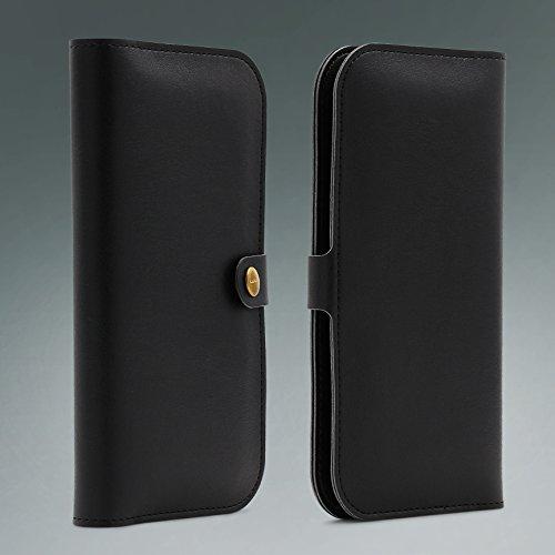 Urcover® Apple iPhone 6 Plus / 6s Plus Handy Schutz-Hülle | Wallet mit Karten-Fächern & Geld-Fach | Portmonee in Schwarz | Umschlag-Hülle mit Druck-Knopf | Smartphone Zubehör Geldbörse Card-Slot Schwarz