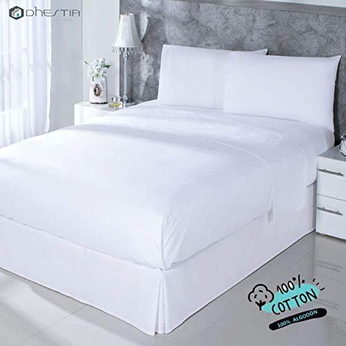 Dhestia Hostelería-Juego Sábanas Blancas Hotel 100% Algodón, Encimera, Bajera, Fundas Almohada, Cama...
