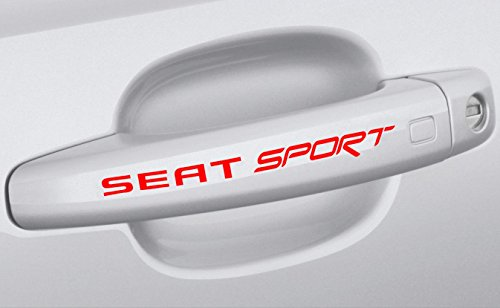 4 stk Seat Sport Türgriffe Aufkleber Sticker Decal 12x1.4cm Die Cut Auto Car Ibiza Leon Cupra Altea FR R TD ST Emblem Logo (Logo Decal Cut Die)
