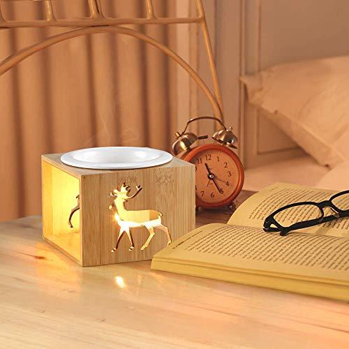 ecooe Aroma Duftlampe Aromalampe Teelicht 100ml Duftöllampe Teelicht ohne Kerze für ätherische Öle Aromabrenner aus Bambus Keramik (MEHRWEG)