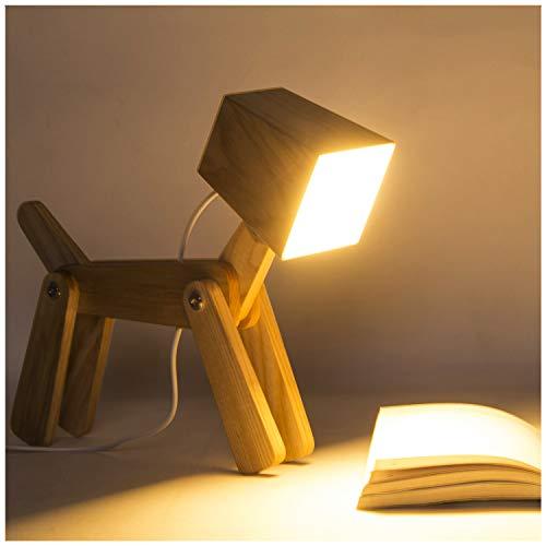 Hroome moderna design led regolabile lampada da tavolo legno cane touch lampade da comodini dimmerabile per camera da letto bambini ufficio 12v 6w (piccolo, bianco caldo 2800-3200k)