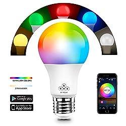 Magic Smart Bluetooth Mesh LED Lampe 40W RGBW, More 50 Lampe Zusammenarbeiten Dimmbar 16 Mio Farben Beleuchtung und DIY Leuchtmittel, Musik & Mic Innenbeleuchtung E27 Bulb für Android und IOS