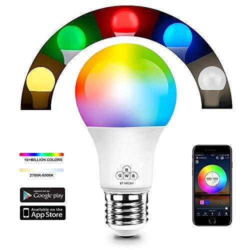 HaoDeng Bluetooth Mesh Smart LED Lampe 40W RGBW, Dimmbar 16 Mio Farben Beleuchtung und DIY Leuchtmittel, Musik & Mic Innenbeleuchtung E27 Bulb kompatibel mit Alexa, Google Home Smart Bluetooth