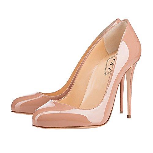 EKS Damen Sexy Runde Zehe Stilettos High Heel Schuhe Partei Kleid Pumpen Aktfarbe-Lackleder