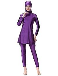 Swallowuk Damen Muslim Abaya Dubai Muslimische Islamische Burkini Badeanzug Bademode Badebekleidung Schwimmanzug Swimsuit Lange Ärmel Arabische Indien Türkische Kleidung (M, Lila)