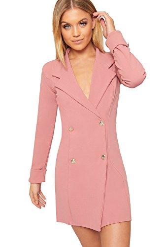 WEARALL - Damen Doppelt Breasted Lang Hülle Kurz Schaltfläche Kragen Damen Mini Blazer Kleid - Rosa - 36