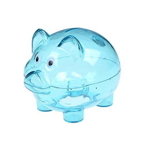 tyrrrdtrd Sparschwein, transparent, süßes Cartoon-Design, Kunststoff, für Kinder blau -