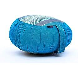 Leewadee Cojín Redondo De Meditación Almohada De Yoga Zafu Orgánico Naturalmente Ecológico, 40x20 cm, Capok, Azul Claro