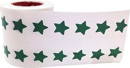 Verde Estrella Pegatinas, 13 mm 1/2 Pulgada Ancho, 1000 Etiquetas en un Rollo