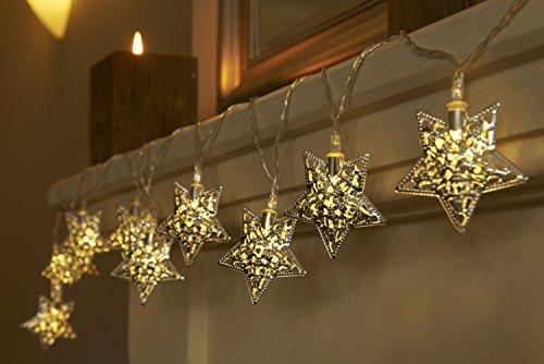 Preisvergleich Produktbild Batteriebetriebene Weihnachtliche Lichterkette mit 12 LEDs Lichterkette Warmweiß - Sterne