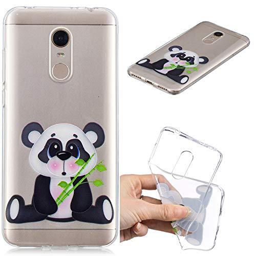 Nadoli Transparent Hülle für Xiaomi Redmi 5 Plus,Bambus Panda Malerei Muster Crystal Kirstall Ultra Dünn Durchsichtige Schutzhülle Bumper für Xiaomi Redmi 5 Plus,Bambus Panda