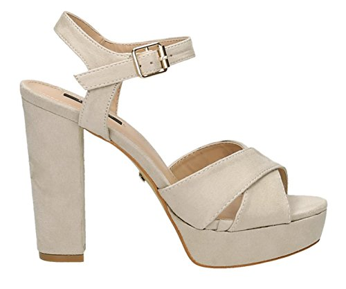 Damen Riemchen Abend Sandaletten High Heels Pumps Slingbacks Velours Peep Toes Party Schuhe Bequem 07 (41, Beige 2) 2 Peep-toe-pump