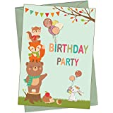 the lazy panda card company 20 Eco Friendly Woodland Animals Birthday Invitations for Children (With Envelopes)