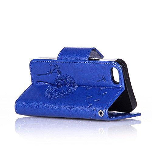 Coque Apple iPhone 6S PU Cuir,iphone 6 Strass Étui Portefeuille Flip Wallet Case,Ekakashop élégant Magnetique Swag Skin Shell Housse de Protection Protecteur Stand Cover Flip Case avec Fonction de Sup Bleu Pissenlit