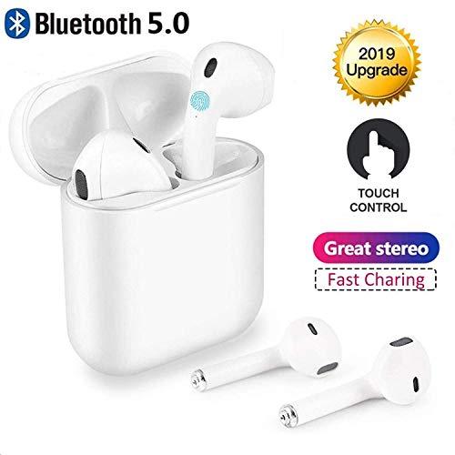 Ecouteurs Bluetooth5.0 Casque sans Fil Bluetooth Intra-Auriculaire Touch Headset Bluetooth Les Stéréo 3D Haute fidélité avec Microphone intégré et Compatible Apple Airpods iPhone Android