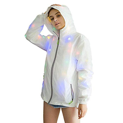 EUTUOPU Women Men Waterproof LED Glowing Jackets Coat Hooded Costume Light Up for Party (3XL)