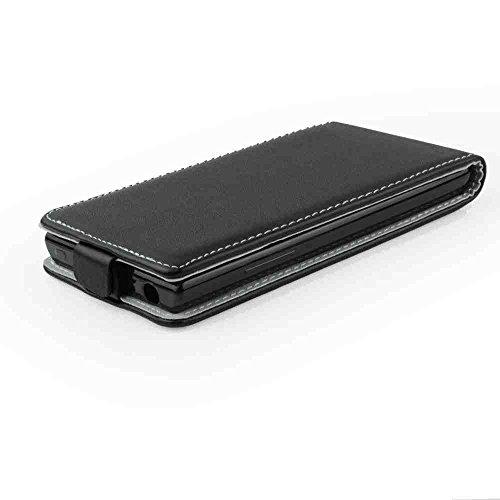 Leder-Imitat FLEXI schwarz für Nokia 230 (2015) Nokia 230 2015 Microsoft Nokia 230 Hülle Etui Flip Cover Flexi Silikon Klapp Tasche