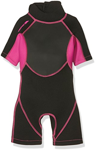Trespass Scubadive, Black/Passion Pink, 7/8, Kurzer 3mm-Neoprenanzug mit 7mm-Reißverschluss für Kinder/Mädchen 2-16 Jahre, 7-8 Jahre, Schwarz