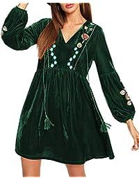 5054e76c33d Aofur Elegant Women s Ladies Boho Velvet Soft Long Swing Tunic Blouse Mini  Dress Embroidery Floral Christmas