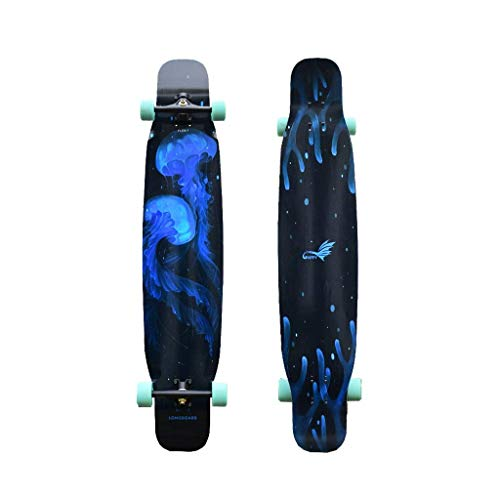 WENYAO Skateboards Professionelles Tanzbrett Brush Street Long Board Komplettes Skateboard Flat Flower Action Road Weiches/Hartes Board - Schwarz -