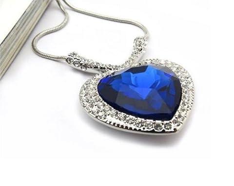 Titanic Cœur de l'Océan Bleu Saphir Big Diamond collier pendentif cadeau pour elle