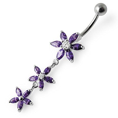 Barres de Pierre en cristal fleur Triple tendance Design 925 argent Sterling avec le ventre en acier inoxydable Purple