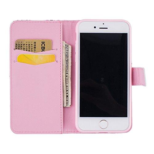 """MOONCASE iPhone 7 Coque, [Dandelion Lover] Modèle Housse Pochette en Cuir Etui à rabat portefeuille [Porte-cartes] TPU Case avec Béquille pour Apple iPhone 7 4.7"""" Rose"""