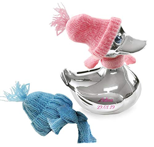Spardose Ente Silber,Sparente mit Mütze und Schal- Rosa & Blau Gravurfähig (Ohne Gravur)