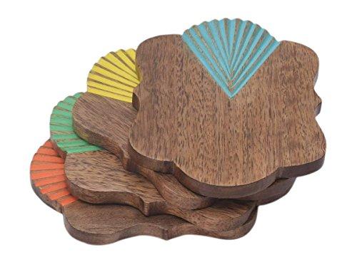 Store Indya, Dekorative Holz Bar Untersetzer Fur Getrank Set Von 4 Tee Kaffeetasse Untersetzer Tabletop Barware Esszimmer Zubehor Mit Bunten Inlay (Mehrfarben 4) -