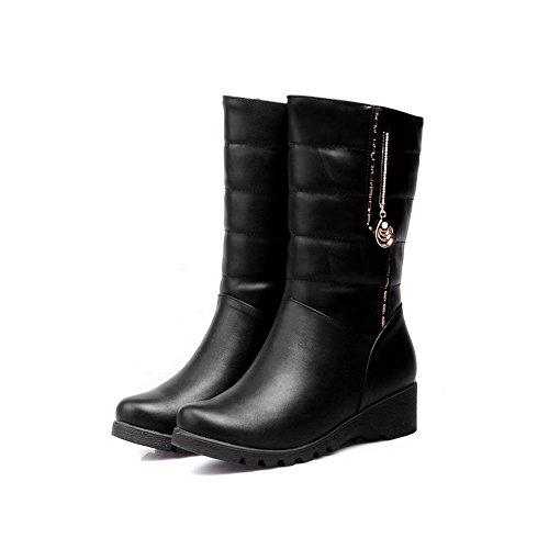 VogueZone009 Donna Tirare Tacco Basso Luccichio Puro Bassa Altezza Stivali Nero