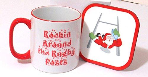 Weihnachten Rugby Tasse & Untersetzer Set