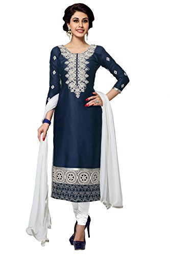Nikki Fab Dark Blue Camric Cotton Embroidered Unstitched Partywear Dress Material.