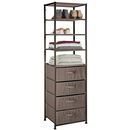 mDesign Standregal - Schubladenschrank mit Vier Ablageflächen und Vier Schubladen aus Stoff - praktisches Metall Regal für Schlafzimmer, Kinderzimmer und Eingangsbereich - Dunkelbraun -