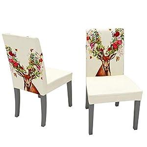 Weihnachten Stuhlhussen Universal Stretch Abnehmbare Stuhlbezug Für Küchenstühle Esszimmerstühle Wohnaccessoires Für Hotel Party Restaurant Dekor (2 Stück)