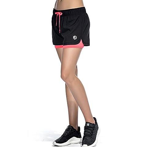 CtopoGo Women's Inner Pocket Breezy Mesh 2 in 1 Running Workout Sports Shorts (Black/Red, XS)